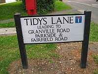 Tidy's Lane street sign - an example of the current street sign design