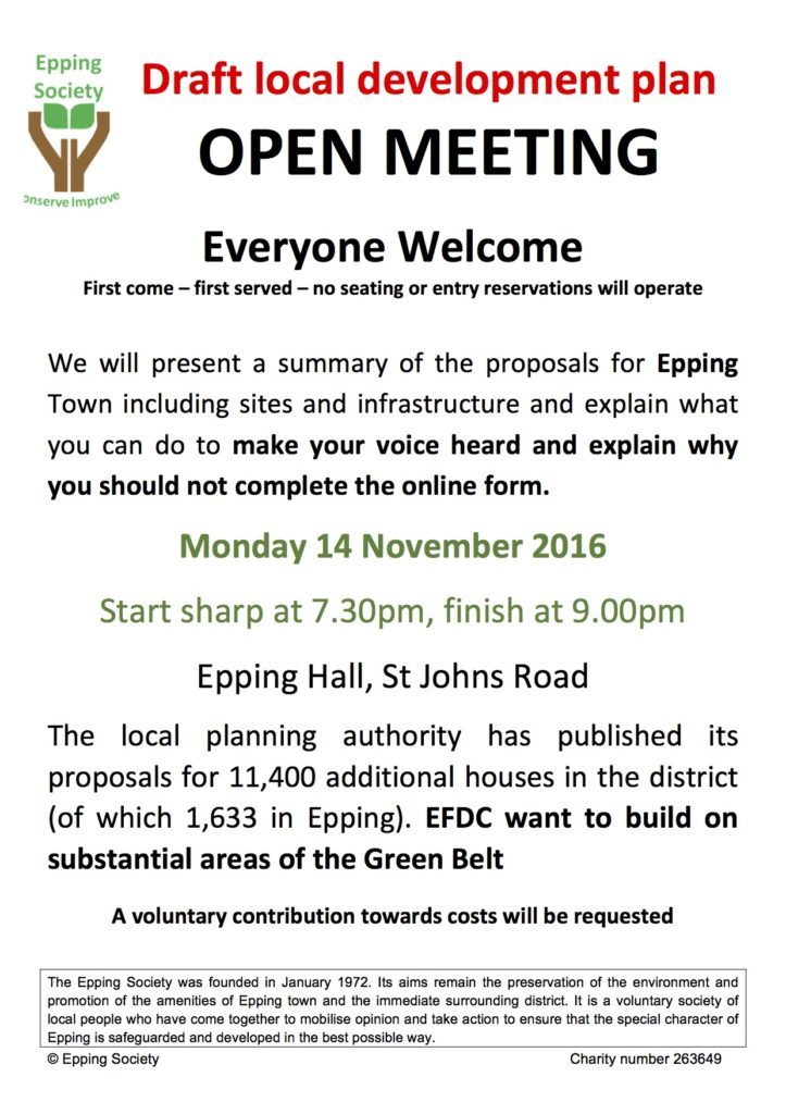 Draft local development plan open meeting, first come first served, no reserved seating, Monday 14 November 2016, 7.30 to 9pm, Epping Hall, St John's Road